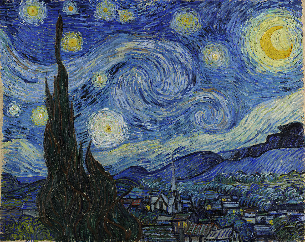 Starry Night, by Vincent van Gogh, 1889 - After its first showing in 1889 at ..., this painting has gone on to become one of the most iconic images in history.