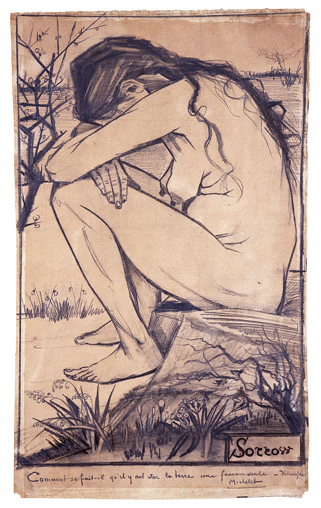 "One of Vincent's most famous drawings, ""Sorrow,"" from . Model was his companion Sien."