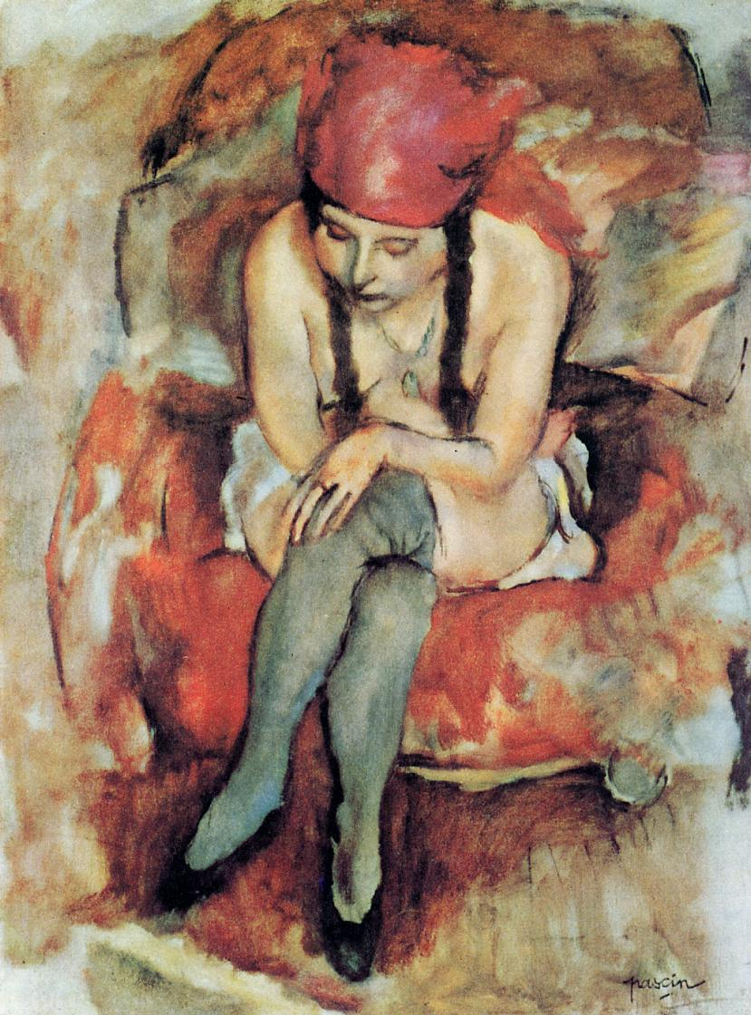 """Claudine Resting,"" 1913 by Pascin"