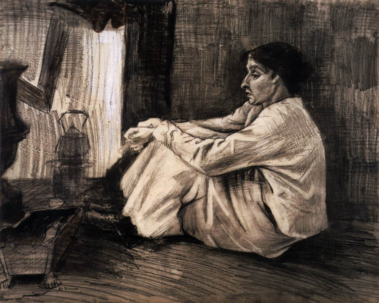 Sien With Cigar Sitting On Floor Near Stove, by Vincent Van Gogh,