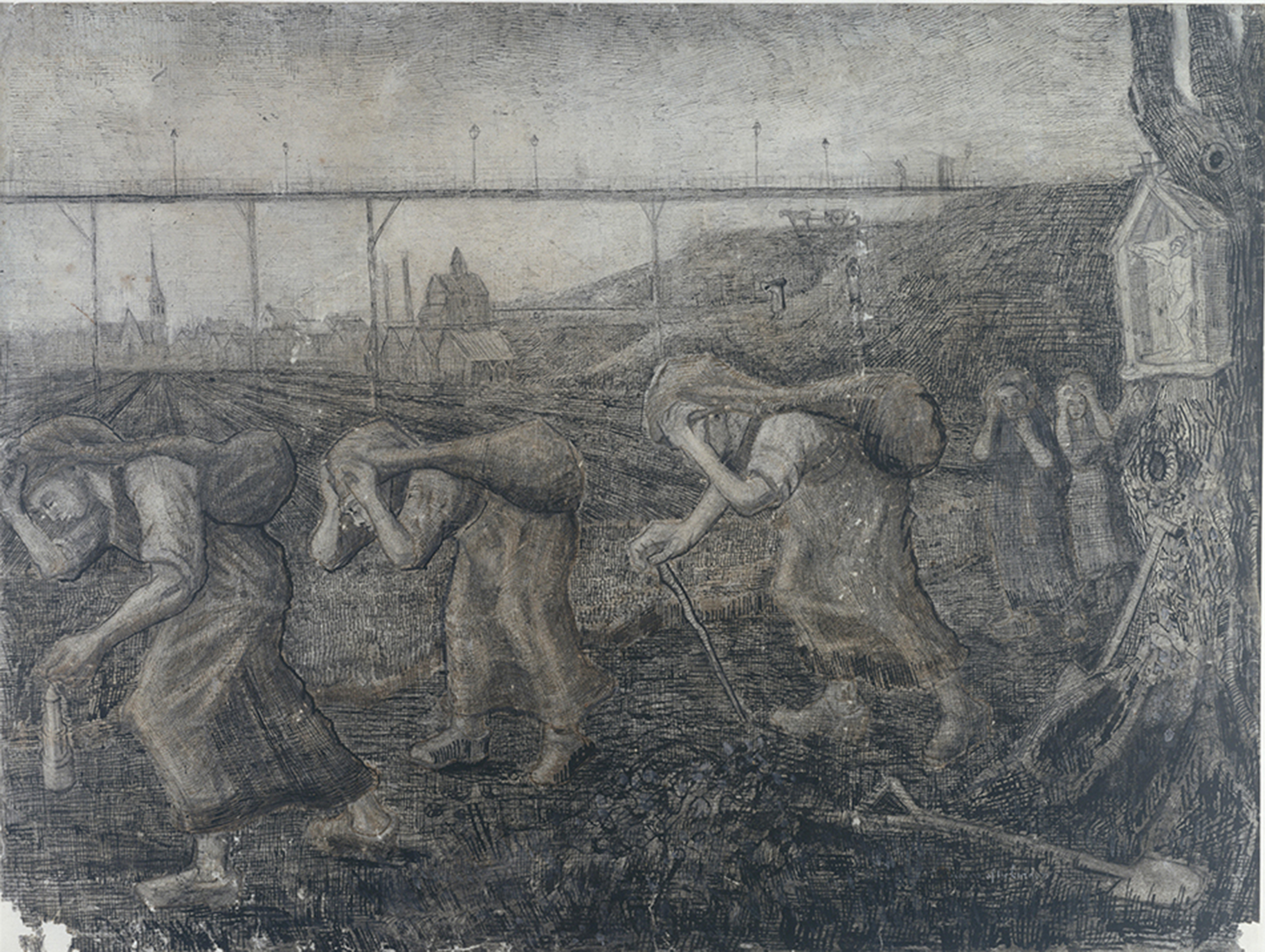 Miners Returning Home, early drawing by Vincent Van Gogh, made in 1878