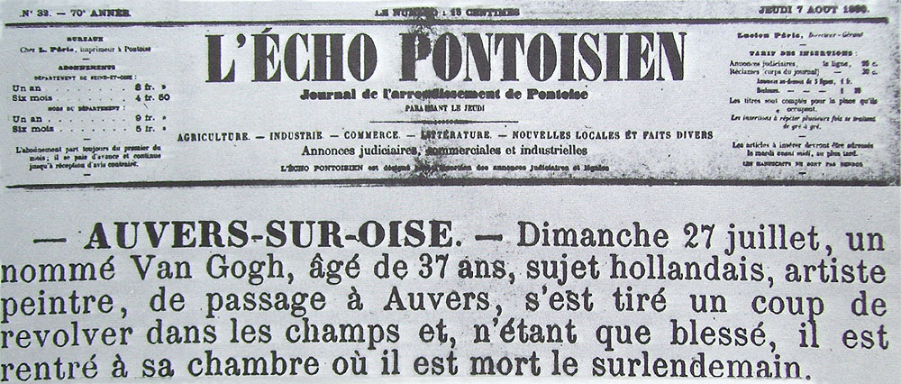 Announcement of the death of Vincent van Gogh in L'Echo Pontoisien, July, 1890