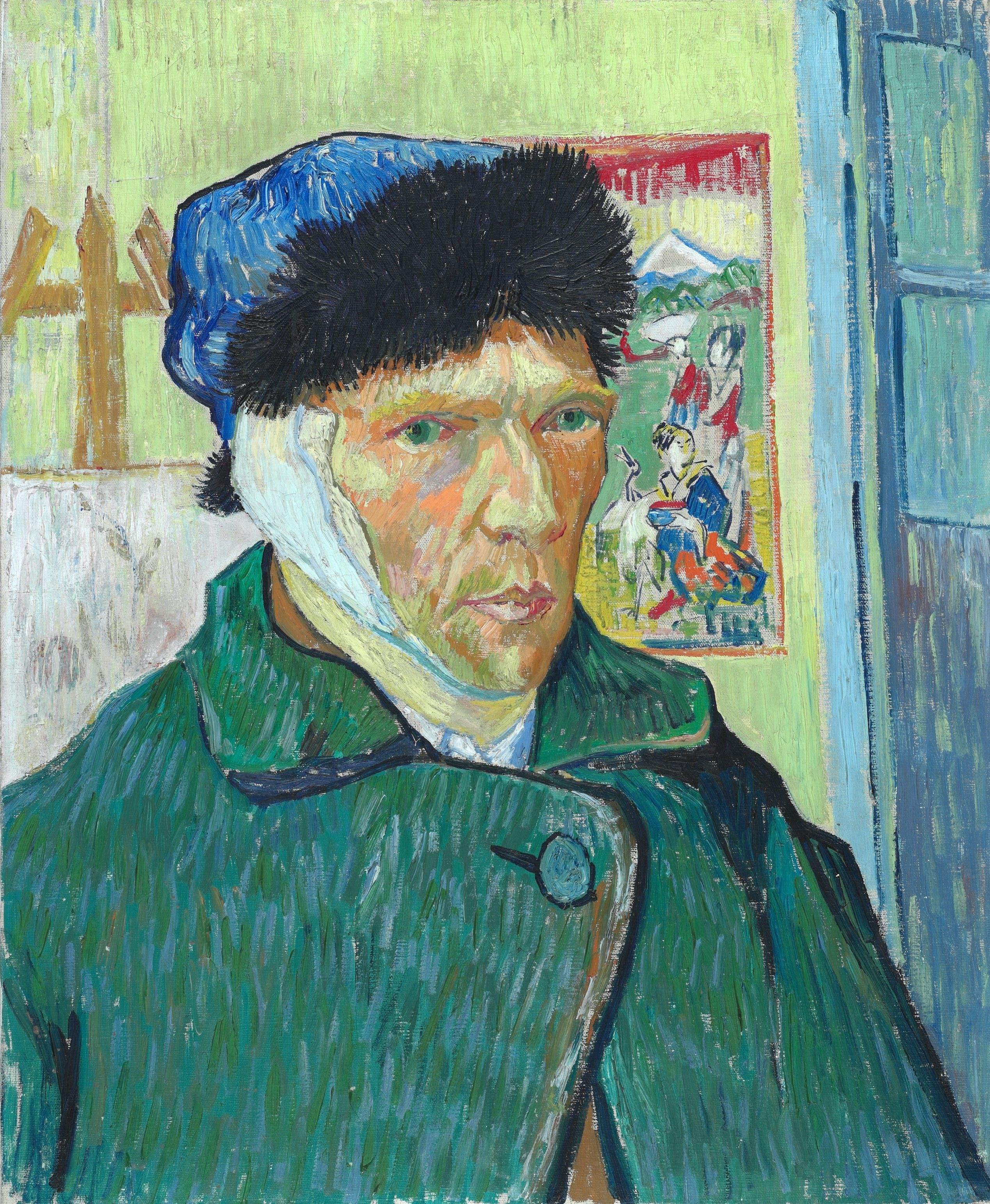 Self Portrait With Bandaged Ear, by Vincent van Gogh, 1889
