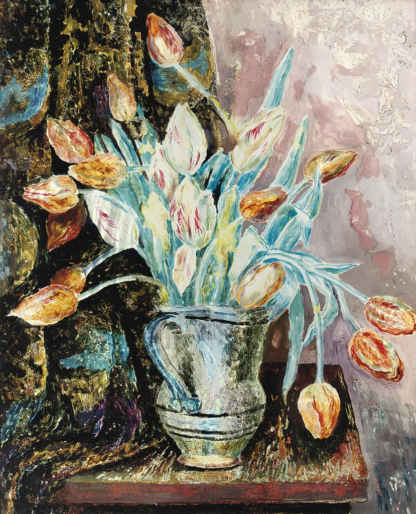 Tulips, by Carrington, c. 1921 oil, ink and silver foil on glass