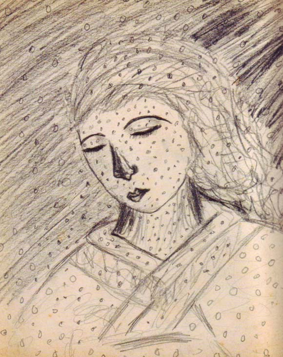 Earliest record of Yayoi's hallucinations, seen here in a drawing from when she was 10 years old.