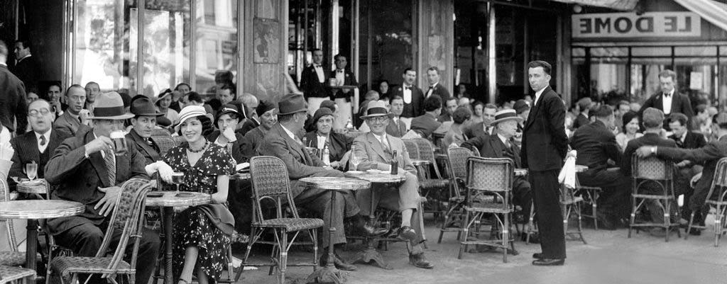 "Photo of happy visitors to the acclaimed ""Le Dome,"" c. 1929. Le Dome was a favorite hangout for Pascin and numerous other Left Bank artists of the early 20th century."