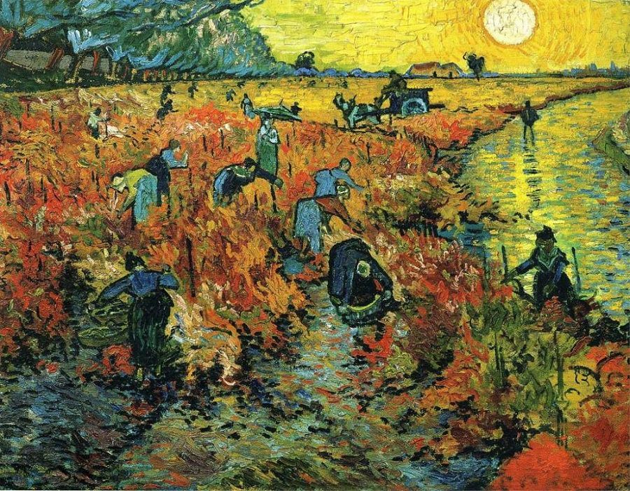 The Red Vineyards At Arles, by Vincent van Gogh, c. 1888. This is the only painting confirmed to have been sold while the artist was still alive.