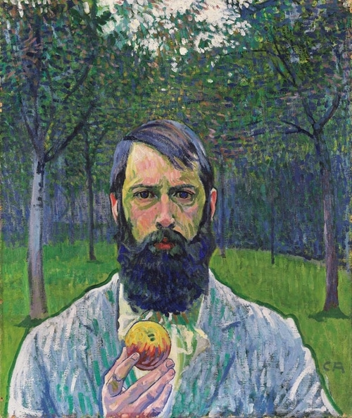 Self Portrait With Apple, 1903 - by Cuno Amiet