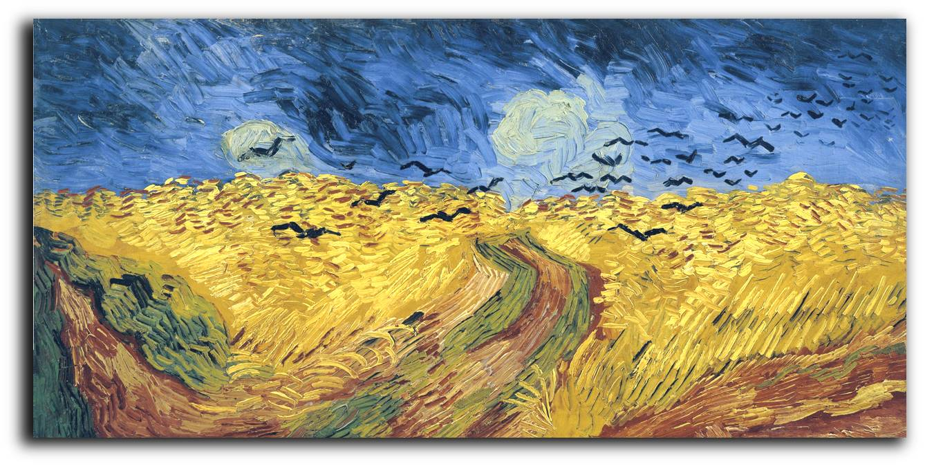 Wheatfield With Crows, by Vincent van Gogh, 1890. Though historians dispute which is the last completed work by Vincent before his suicide, it is agreed upon by many that this was his last completed work.