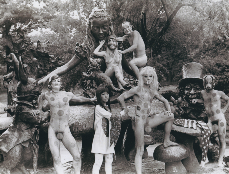 Yayoi Kusama, The Anatomic Explosion Happening at Staue of Alice in Wonderland, Central Park, 1968 [Note: Some extra polka dots were added by yours truly, as some sites I post on are rather touchy about seeing boobies and penii. Original can be viewed by clicking the image.]