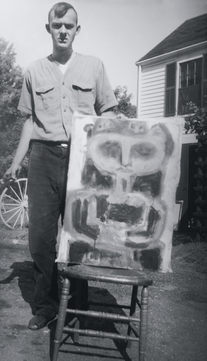 Cy Twombly with an unidentified early work, late 1940's