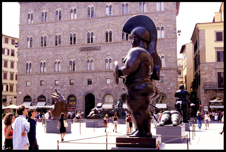 Sculpture by Fernando Botero, outdoor exhibition at the beautiful Piazza della Signoria in the heart of Florence, Italy.