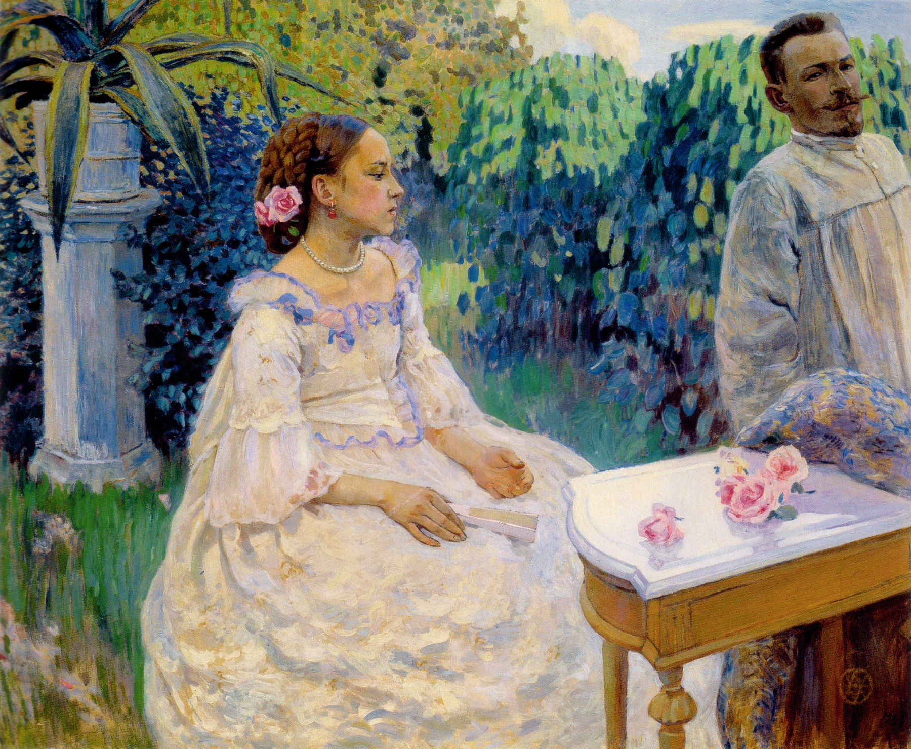 """Self Portrait With Sister,"" by Victor Borisov-Musatov, 1898"