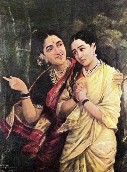 """Simhika and Sairandhri"" by Raja Ravi Varma, date unknown"