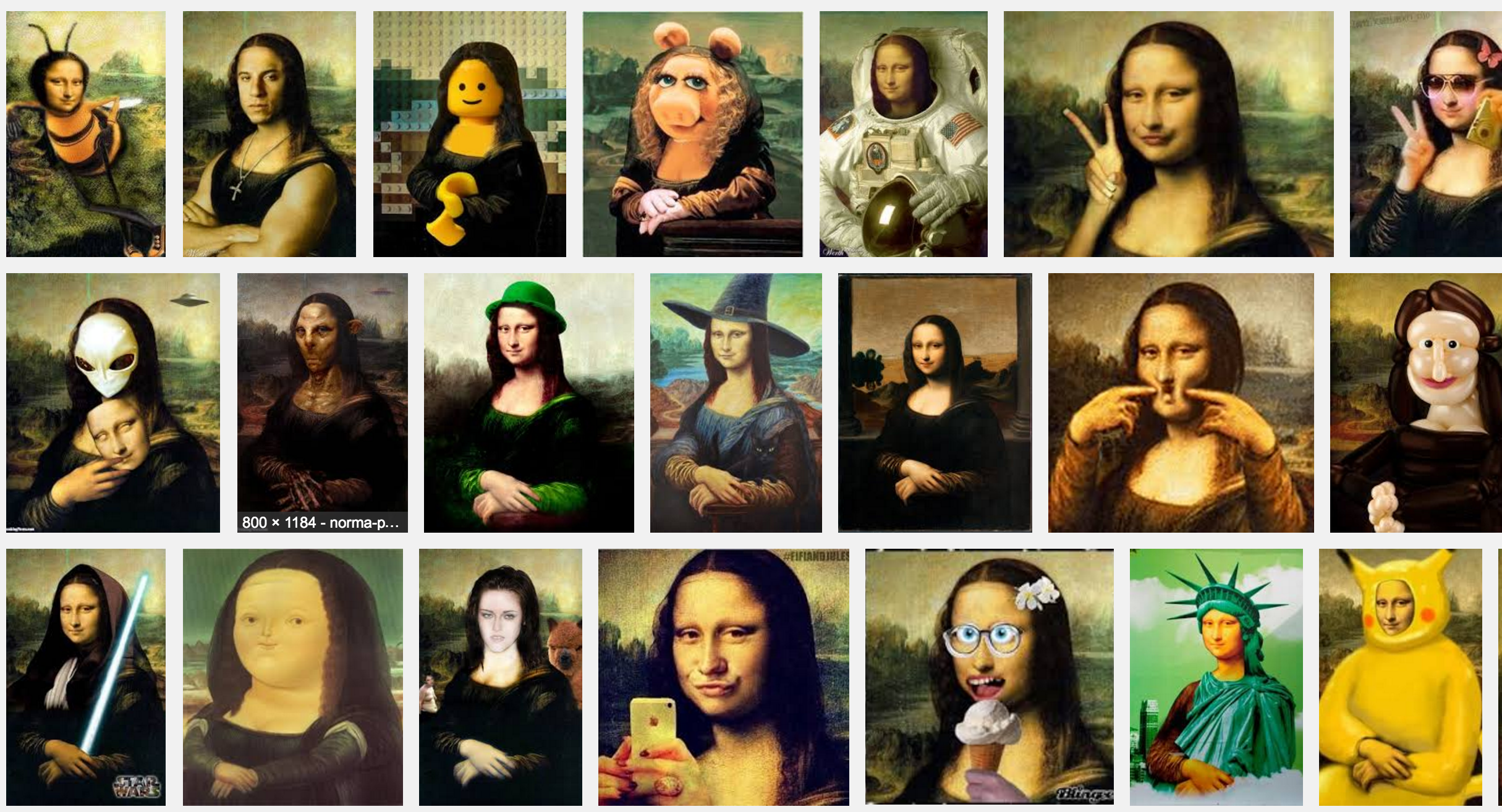 Just some of the myriad parodies of Leonardo's famous painting