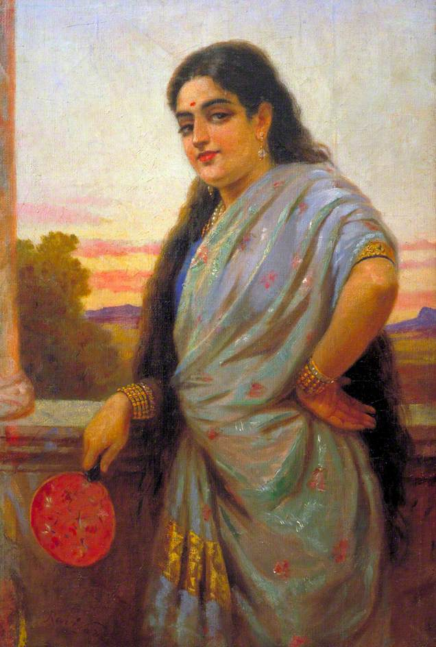 """Woman Holding A Fan,"" by Raja Ravi Varma, date unknown"