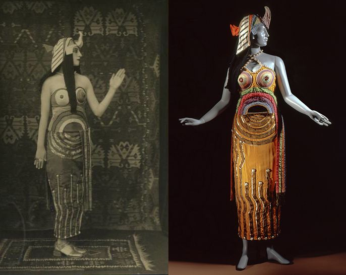 Sonia Delaunay Costume for title role from Cleopatra, 1918 silk, sequins, mirror and beads, wool yarn, metallic thread braid, lamé center back length: 45 1/8 in. (114.62 cm) headdress: 22.69 × 14.63 × 12.63 cm (8 15/16 × 5 3/4 × 5 in.) Overall mannequin footprint: 67 x 36 x 20 inches. Los Angeles County Museum of Art, Costume Council Fund © Pracusa 2012003 Digital Image © 2013 Museum Associates/LACMA. Licensed by Art Resource, NY