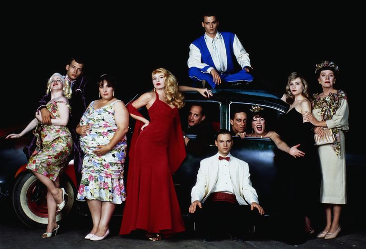 "The cast of ""Cry Baby,"" 1990 - with John Waters at the wheel"