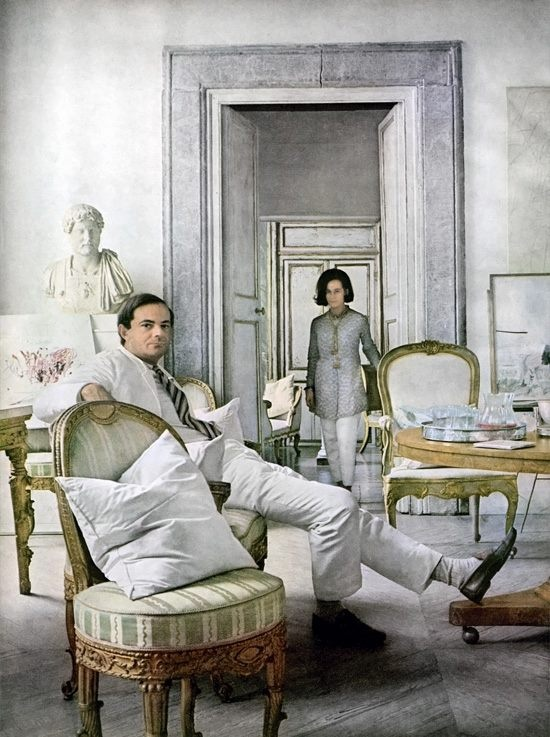 Cy Twombly and his wife, Baroness Tatiana Franchetti, at their home in Rome, 1966