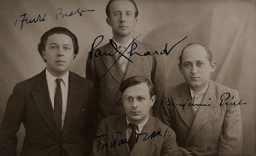 Clockwise from left: André Breton, Paul Éluard, Benjamin Péret, and Tristan Tzara (front center)