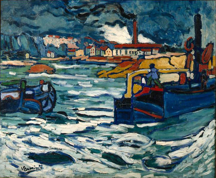 """Barges On The Siene,"" 19__ by Maurice de Vlamnick"