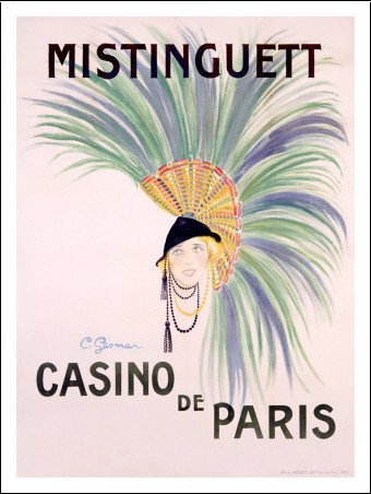 Poster for one of Mistinguett's early performances at the Casino de Paris, before her superstar status.