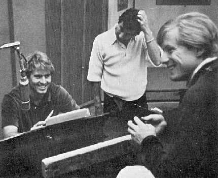 Jan Berry at the keyboard, during recording sessions for Jan and Dean (Dean Torrence, seen on right)