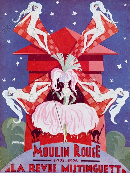 Poster for Mistinguett's spectacular show at the Moulin Rouge, mid 1920's