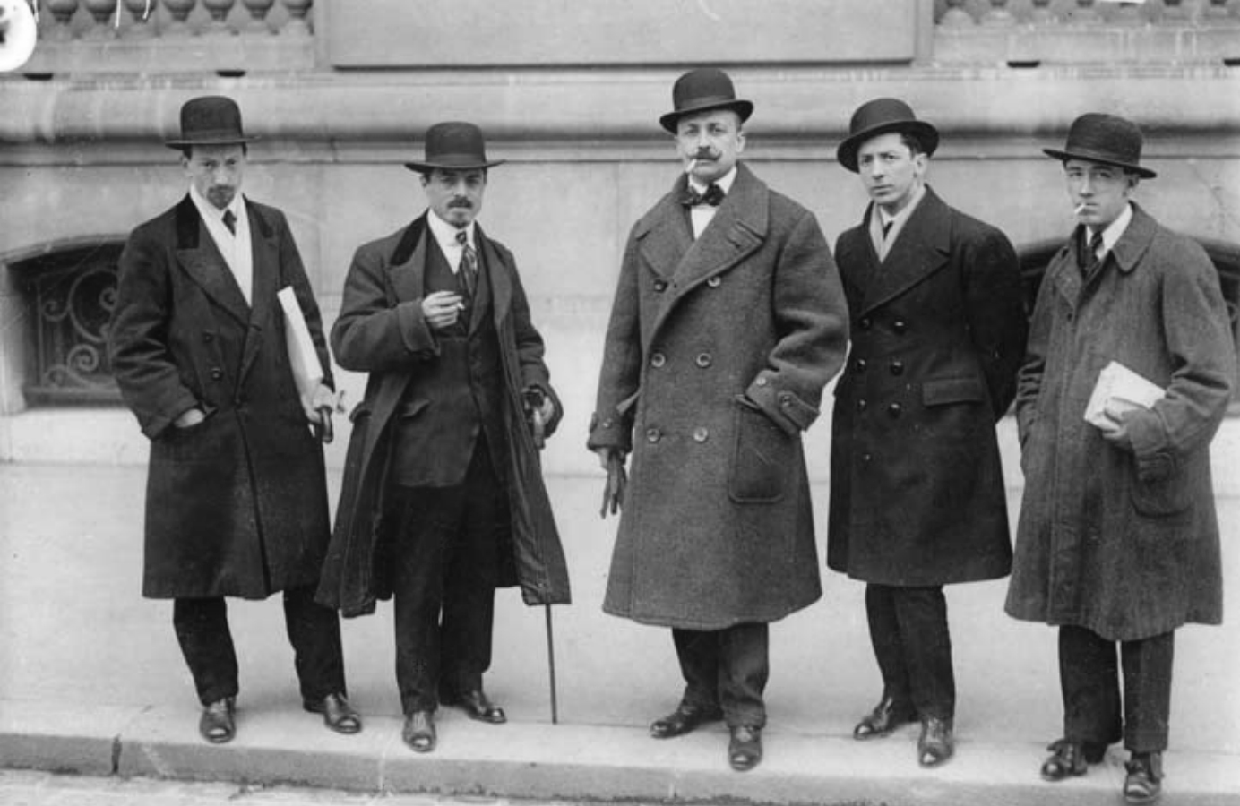 "The Futurists: (from left to right) Luigi Rossolo, Carlo Carrà, Filippo Tommaso Marinetti, Umberto Boccioni, and Gino Severini - in front of ""Le Figaro,"" Paris, February 9, 1912"