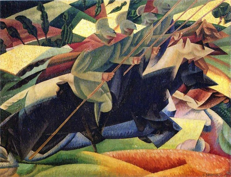 """Italian Lancers,"" 1915 by Gino Severini, an exceptional example of the Futurist's ""War Art"""