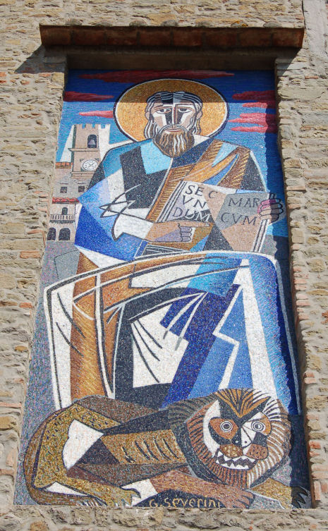 Mosaic of San Marco, on the church dedicated to the saint, in Cortona, Italy, by Gino Severini