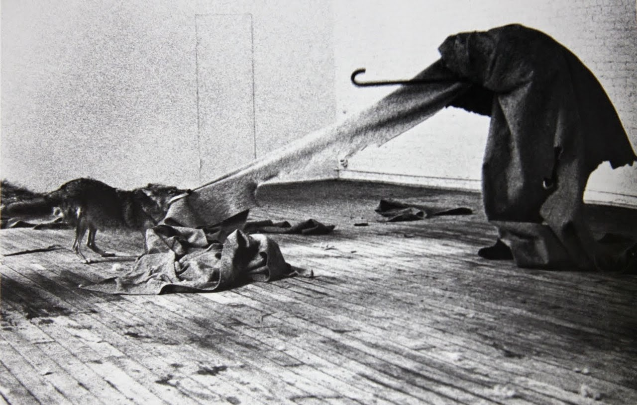 "Joseph Beuys, from his 1973 performance piece, ""I Like America And America Likes Me"""
