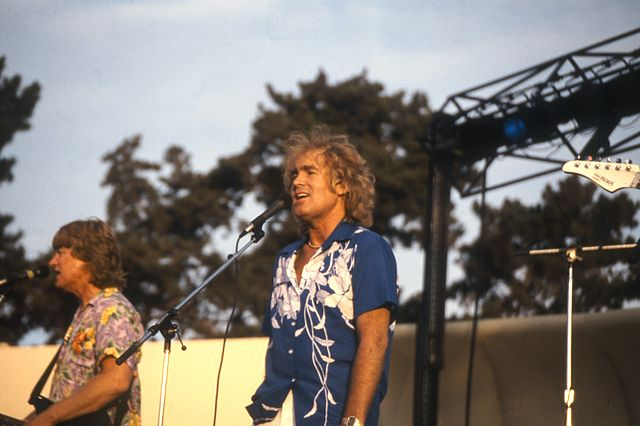 Jan and Dean (Dean Torrence left, Jan Berry right) perform together at the 1985 Orange County Fair in CA. Berry was left mostly paralyzed on his left side but his dedication to the music help him find his way through intense therapy for years.