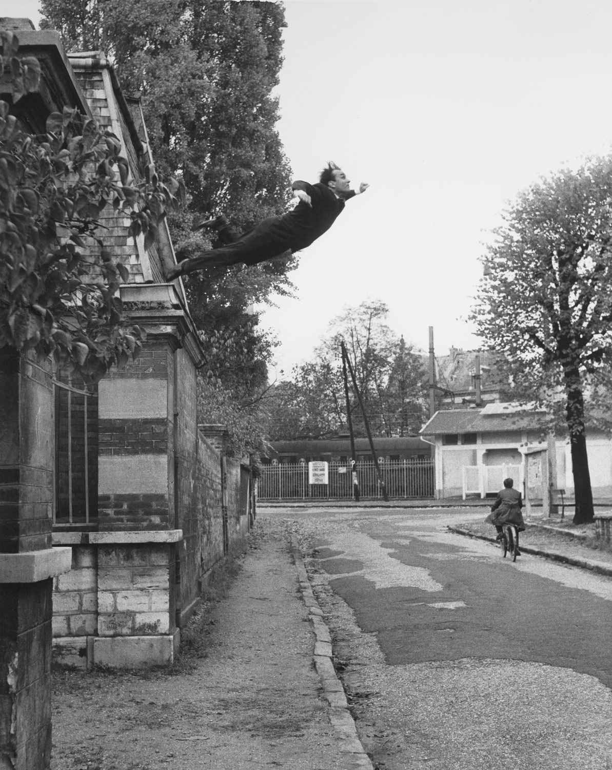 """Leap into the Void"", artistic action by Yves Klein, photographed by Harry Shunk and János Kender, 1960"