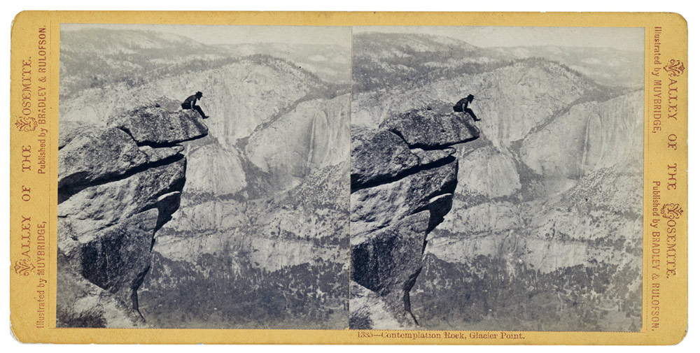 "Eadweard Muybridge in a very bold self portrait, ""Contemplation Rock,"" 1972"