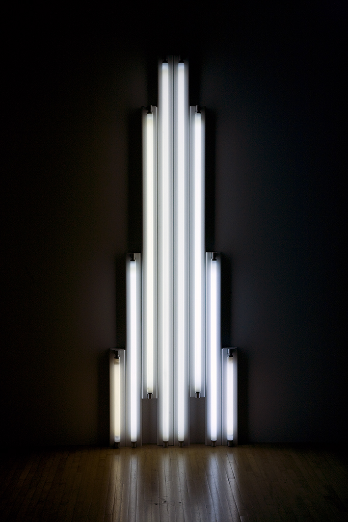 "Dan Flavin, ""Monument"" for V. Tatlin, 1969, cool white fluorescent light with fixture, 96 x 30 1/2 inches"