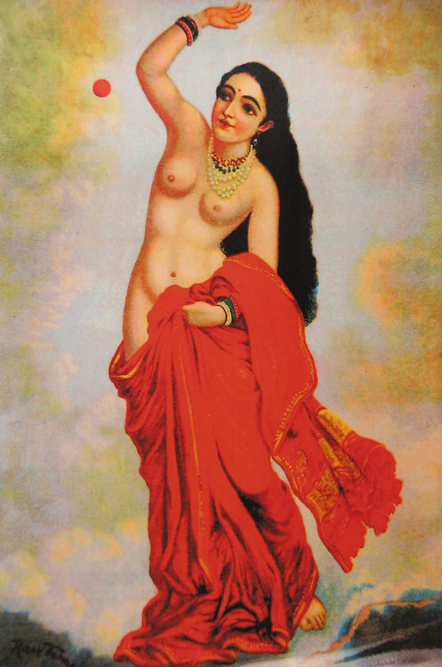 """Tilottama,"" an Apsara (celestial nymph), by Raja Ravi Varma, date unknown"