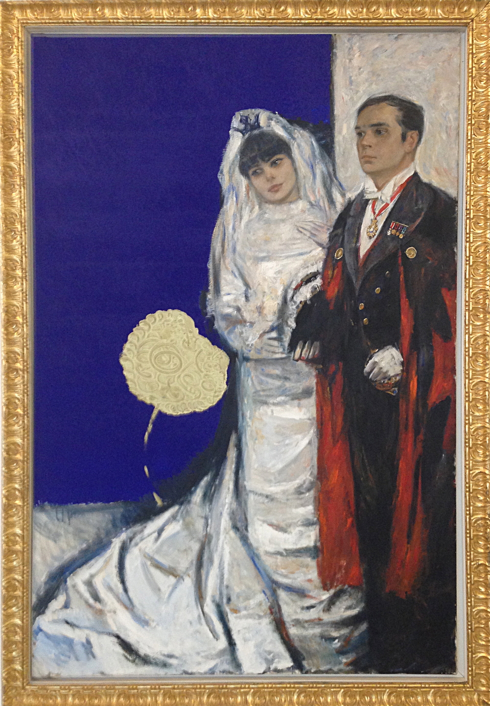 Unfinished portrait of Yves Klein and Rotraut Ueker, painted by and Yves Klein