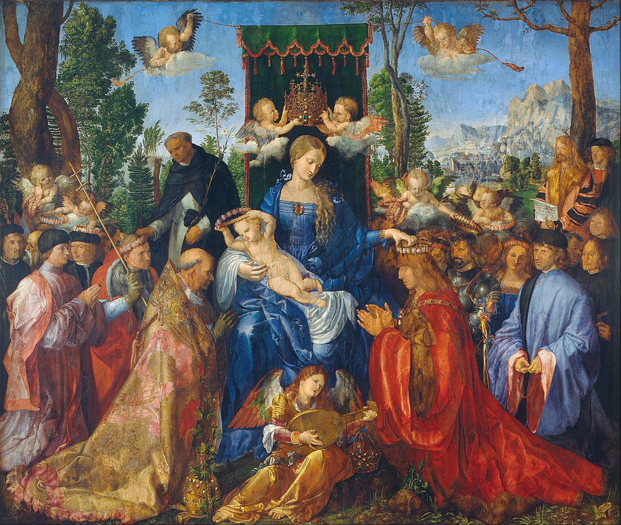 """""""Adoration of the Virgin,"""" or """"Feast of the Rosegarlands,"""" by Albrecht Dürer, 1506-07"""
