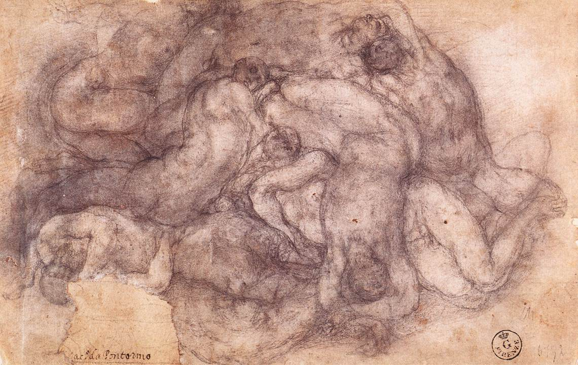 """Group Of The Dead,"" drawing by Jacopo Pontormo, 1546-1556, for the now destroyed fresco cycle at San Lorenzo church in Florence, Italy."