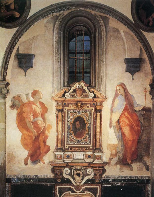 """The Annunciation,"" located in the Capponi Chapel in the church of Santa Felicità, in Florence, Italy, by Jacopo Pontormo, 1526-1528"