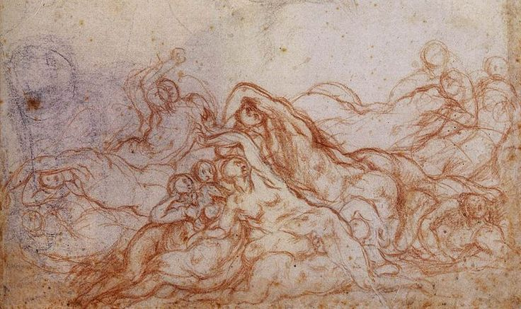 "Study for ""Deluge,"" by Jacopo Pontormo, 1546-1556, for the now destroyed fresco cycle at San Lorenzo church in Florence, Italy."
