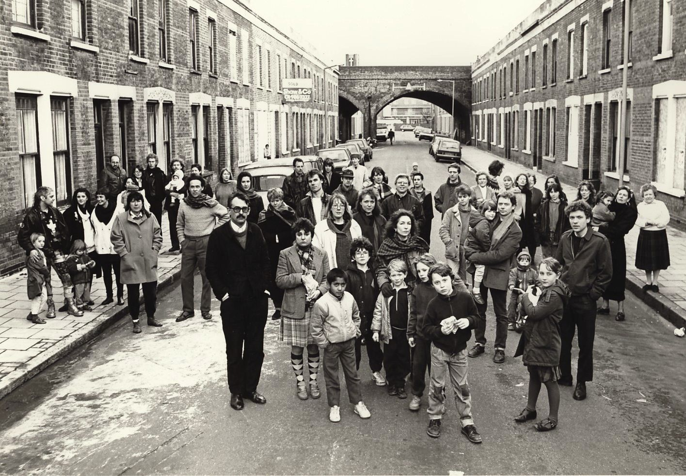 Many of the artists and their families that lived in the Beck Road community, 1988. Helen Chadwick and about a dozen other artists saved the buildings from demolition and founded the community in 1977.