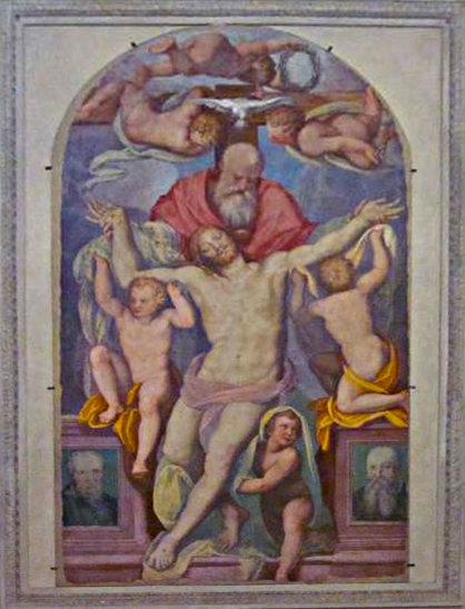 """Trinity,"" marking the final resting place of the great Pontormo, painted by his pupil and friend, Agnolo Bronzino"