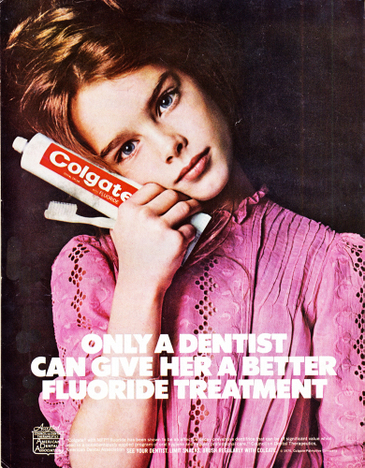 1974 Colgate toothpaste ad, model Brooke Shields, photograph by Richard Avedon