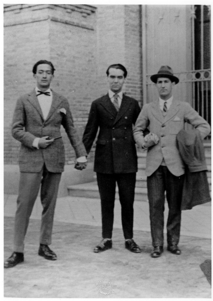 From left to right, Dalí, Federico Garcia Lorca, and Pepin Bello at the