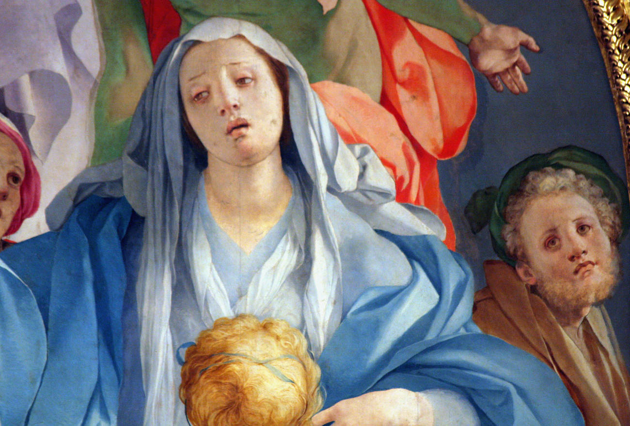 "Detail from ""The Deposition of the Cross,"" by Jacopo Pontormo, 1528. Historians believe that the figure to the far right of the Madonna is a self-portrait of Pontormo."