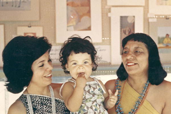 Helen Hardin with her daughter Margarite, and Helen's severe (and possibly envious) mother, Pablita