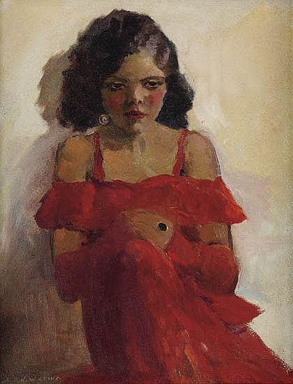 """""""Girl In A Red Dress,"""" by Laura Wheeler Waring, 1935"""