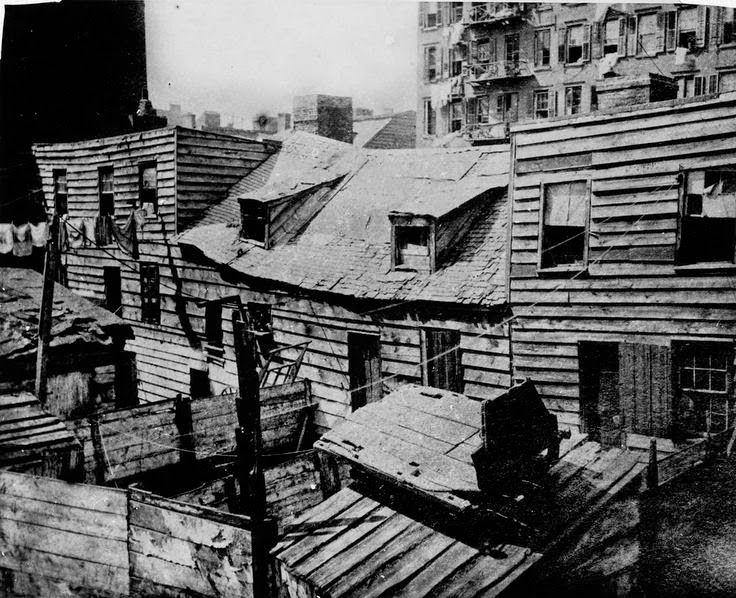 "Homes located in the slums of New York were referred to by journalists as ""Dens of death."""